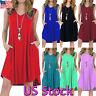 US Plus Size Women's Pocket V Neck Summer Beach Vest Ladies Midi Dress Sundress