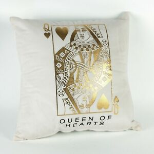 White Queen of Hearts Cushion Valentines Day Gift for ladies Poker Themed Gift