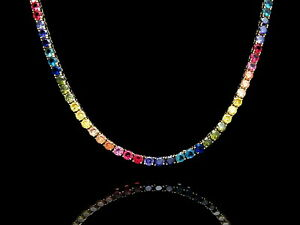 "25.00TCW Color Gemstone Rainbow Tennis Necklace 18"" Real 925 Sterling Silver 4mm"