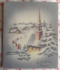 Vintage 1940s Christmas Greeting Card Families Walking in Snow to Church