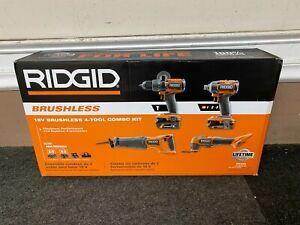 *NEW* RIDGID R9225 18V BRUSHLESS 4-TOOL COMBO KIT