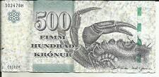 FAROE ISLANDS 500 KRONER 2011  P 32. VF CONDITION.  4RW 18 OCT