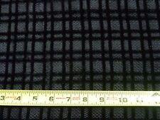 """Vtg French Silk Blend Black Velvet Windowpane Check Fabric Wilmart Paris 36x 88"""""""