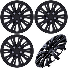 "4 Piece Set MATTE BLACK Hub Caps FITS 16"" Inch Wheel Cover Skin Covers Cap"