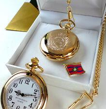 ROYAL ENGINEERS Pocket Watch  Lapel Pin Badge Crest 24k Gold Luxury Gift Set