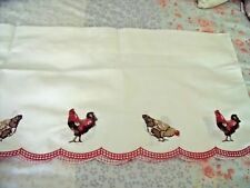 """NEW ROOSTER VALANCE CURTAIN 58"""" X 12"""" Red Check Trim Embroidered FARMHOUSE Decor"""
