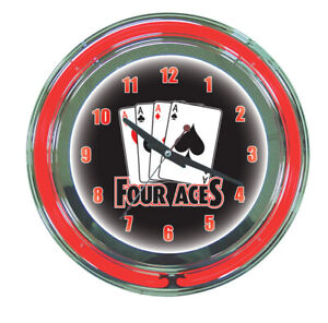 4 Four Aces Poker Texas Hold Em Sign 2 Ring Neon Clock