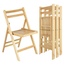 Set of 4 Solid Wood Folding Chairs Slatted Seat Wedding Patio Garden Furniture