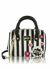 Betsey Johnson Mini Barrel Purse Crossbody Satchel Bag BEE Stripes Stud Flower