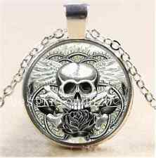 Winged Skull With Rose Cabochon Glass Tibet Silver Chain Pendant Necklace