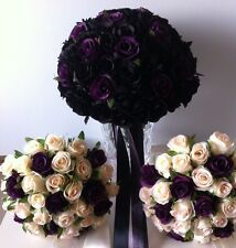 BLACK DEEP PURPLE IVORY ROSE PACKAGE 6 PIECES WEDDING  BOUQUET GOTHIC SILKFLOWER