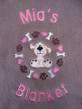 Personalised Dog / Puppy Blanket - Cute Dog Hearts / Bones / Paws - GIRL