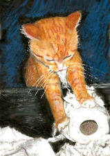 BCB Orange Tabby Cat Kitten Busy Ripping Up Toilet Paper Print of Painting ACEO