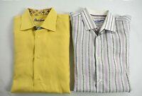 2 Robert Graham Men Embroidered Long Sleeve Flip Cuff Button-Up Dress Shirt L/XL