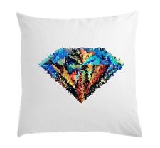 Abstract Diamond Art Vogue Dope Stylish White Pillow Case Cushion Cover 40 cm