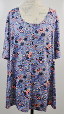 Denim & Co. Size 3XP 3X Petite Elbow-Sleeve Printed Fit & Flare Tunic Top Shirt