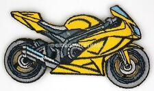 Toppe Ricamate termoadesive Moto gialla toppa adesive Grigia 8cm x 4,5cm patch