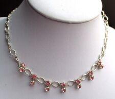 collier bijou rétro couleur argent petites pampilles cristaux couleur rose 1665