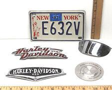 Vintage Harley-Davidson Aluminum Metal Emblems+New York State Motorcycle Plate