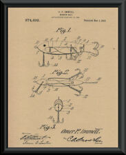1910 Heddon Fishing Lure Patent Reprint On 100 Year Old Paper *P041