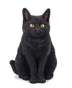 Vivid Arts Black Sitting Cat Highly Detailed Garden Decoration