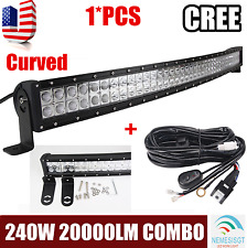 42inch 240w CREE LED Light Bar Curved Offroad Driving SUV Truck Jeep+Wiring Kit