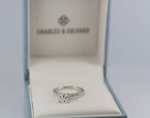 Charles & Colvard 14k White Gold Princess Cut And Round Moissanite Ring Size 6