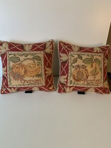 Pair French Tapestry Pillows 11 inch square
