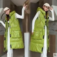 Down cotton jacket Women long waistcoat Lady winter hooded casual padded Coat