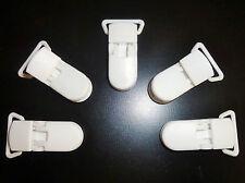 5 X Plastique Blanc Kam bébé mannequin fort clips sucette ouverture fits ruban 20mm