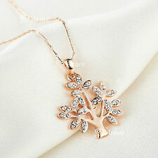 18K ROSE GOLD FILLED CRYSTAL TREE OF LIFE PENDANT NECKLACE