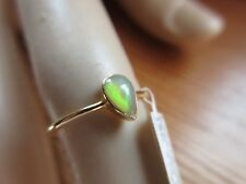 18KT SOLID GOLD 4X5MM AUSTRALIAN  OPAL STACK RING SZ/5