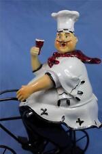 Fat Chef Statue Chef On Bike Statue Bicycle Kitchen Decor w Wine Glass New