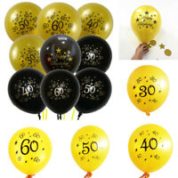 10 PCS 12 inch Number Latex Balloon 30th 40th 50th 60th Age Birthday Party Decor