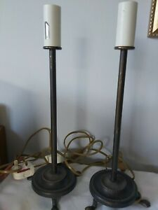 Pair Laura Ashley Vintage Metal Table Lamp - Candle Stick Style Round Base