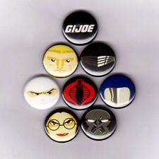 "GI JOE MIGHTY MUGGS 1"" PINS / BUTTONS (cobra logo snake eyes storm shadow funko"