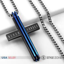 New York City WTO 911 Memorial Stainless Steel Cross Pendant w/ Box Necklace Q24
