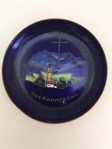 "Rare AG BUNGE 50's Copper Blue Enamel Oberammergau Bavaria Passion Play Dish 3"""