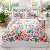 "Rapport ""Tropical"" Flamingo, Floral Reversible Easy Care Duvet Cover Bedding Set"