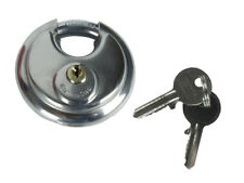 Round Discus Shackle Padlock - Stainless Steel - With 2 Keys (70mm) Heavy Duty