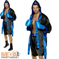 Boxing Mens Fancy Dress Sports Uniform Boxer Adult Costume Outfit + Gloves