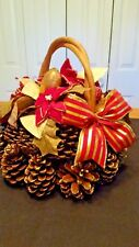 Christmas Centerpiece Pine Cone Basket Red Poinsettia Flowers CHARITY DONATION