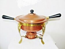 Vintage Copper Brass Chafing Dish Food Warmer Buffet Fondue Dish 2 Pan 5 Piece