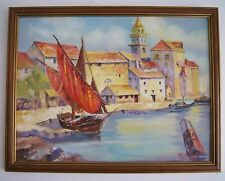 """Chester """"City By The Sea"""" Signed Oil On Board Painting Original Framed 20x26"""""""