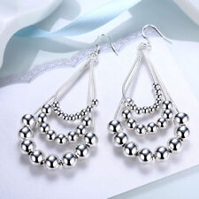 Womens 925 Sterling Silver Chandelier Beads Ball Long Drop Dangle Earrings #E172