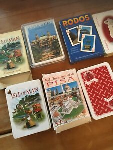 4x PACKS PICTORIAL PLAYING CARDS - RHODES / MONACO / ISLE OF MAN / PISA
