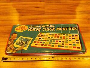 Vintage JON GNAGY'S Super Colossal Watercolor PAINT TIN Metal Box ENGLAND