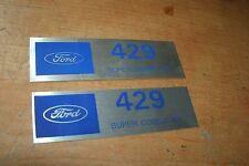 FORD 429SCJ 429 SUPER COBRA JET VALVE COVER DECALS NEW PAIR SILVER / BLUE 2x