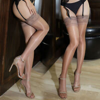 Sexy Women's Ladies Ultrathin Shiny Sheer Lace Top Thigh High Stockings Hold Ups