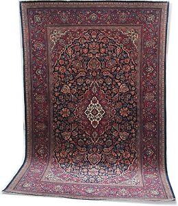 Oriental carpet handmade antique wool Kshan rug blue red 6.6'x4.4' fab condition